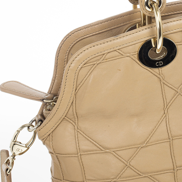 Christian Dior Beige Cannage Quilted Lambskin Leather Granville Tote Bag
