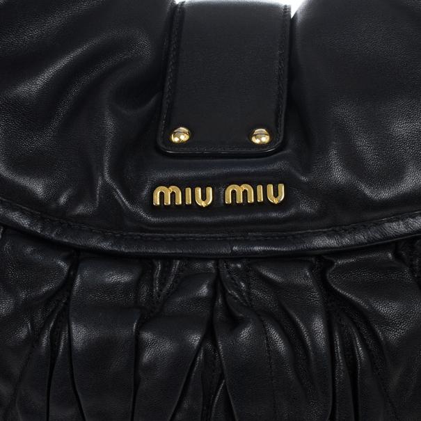 Miu Miu Black Coffer Matelasse Leather Hobo