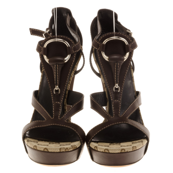 Gucci Brown Leather Icon Bit Platform Sandals Size 40