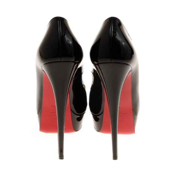 Christian Louboutin Black Patent Lady Peep Toe Platform Pumps Size 40