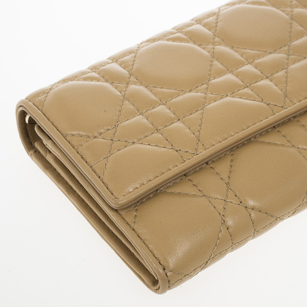 Christian Dior Beige Cannage Lambskin 'Lady Dior' Continental Wallet