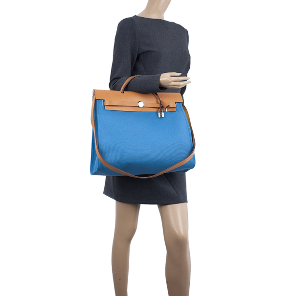 Hermes Celeste Canvas and Leather Herbag Zip 39 Bag