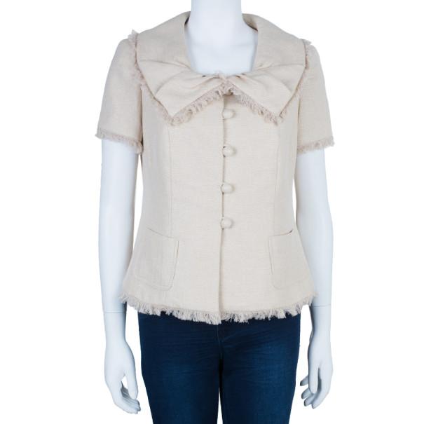 Dior Beige Short Sleeve Collar Detail Jacket L