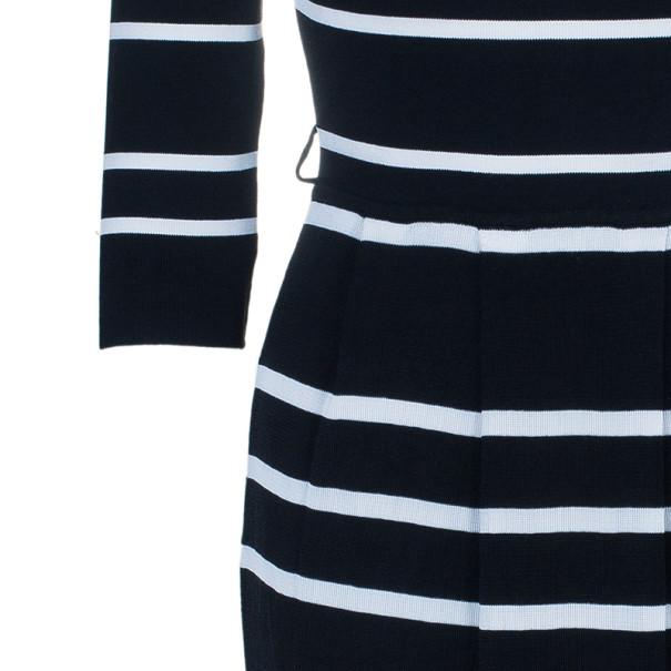 Dior Monochrome Striped Flare Dress L