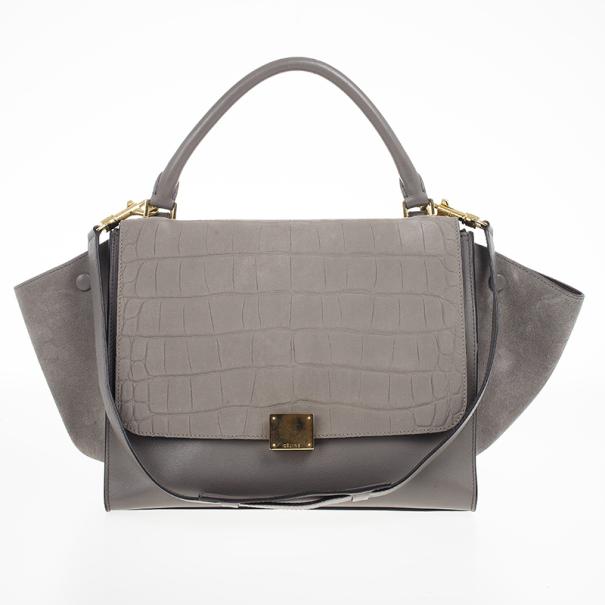... Celine Grey Croc Embossed Leather Trapeze Luggage Tote. nextprev.  prevnext