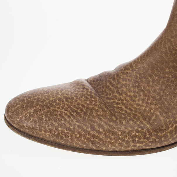 Gucci Brown Woven Whipstitched Leather 'Janis' Flat Boots Size 39.5