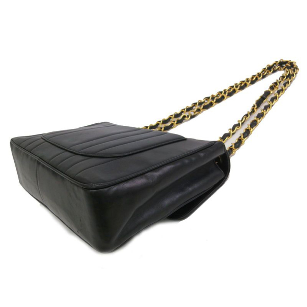 Chanel Black Vintage Vertical Quilt Mademoiselle Flap Bag