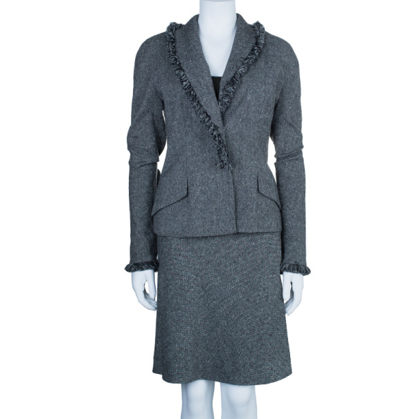 Dior Grey Wool Skirt Suit M/L