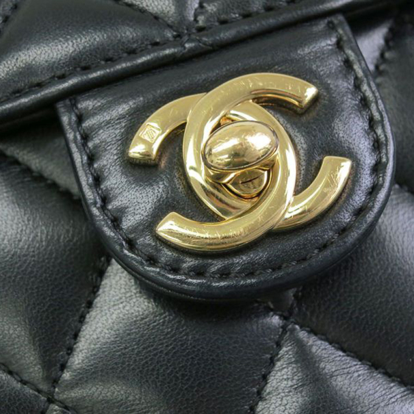 Chanel Black Leather Classic Mini Square Flap Bag