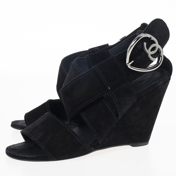 "Chanel Black Suede Heart ""CC"" Buckle Wedge Sandals Size 38.5"