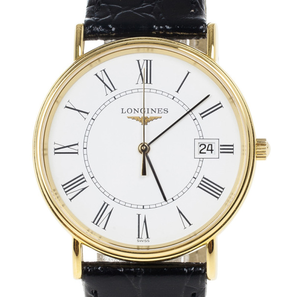 Longines White Gold-Plated Steel Grand La Classique Presence Unisex Wristwatch 34MM