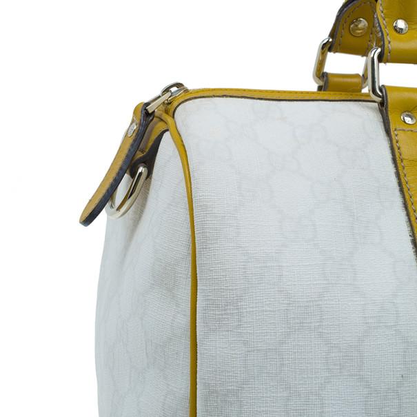 Gucci White Canvas Medium Joy Boston Bag