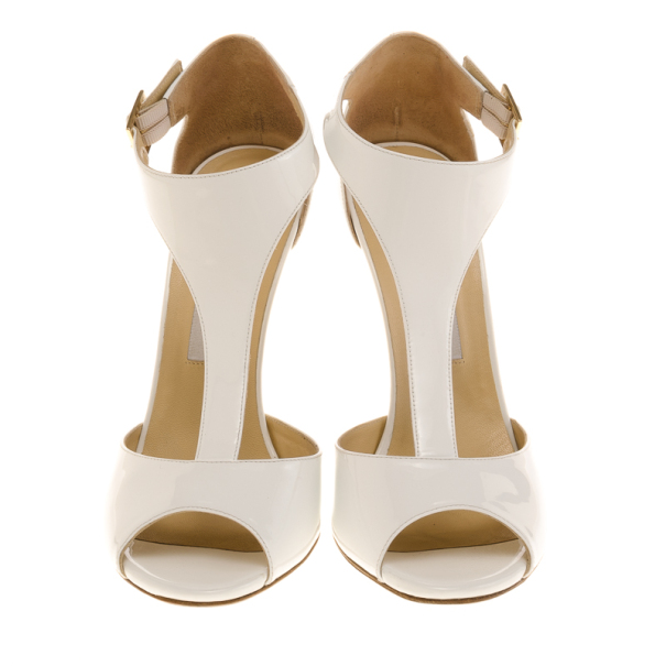 Jimmy Choo White Patent Token T Strap Wedges Size 40