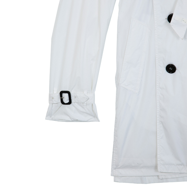 Burberry White Cotton Gabardine Trench Coat M