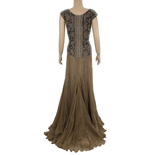 Saint Laurent Paris Snake Print Gown M