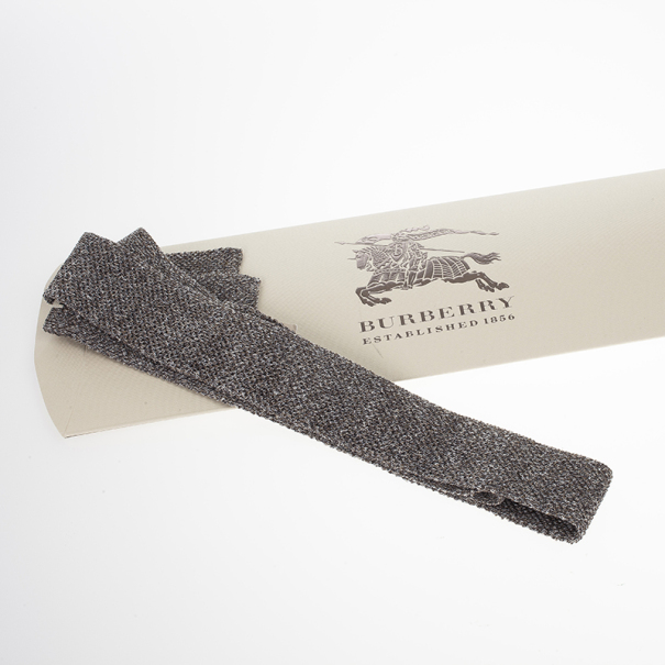 Burberry Grey Knitted Silk Tie
