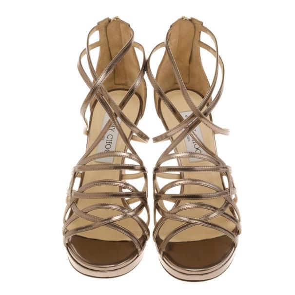 Jimmy Choo Mandie Strappy Mirrored Leather Platform Sandals Size 36