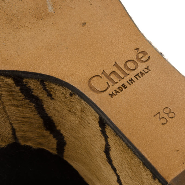 Chloe Suede & Pony Hair Ankle Strap Platform Wedges Size 38