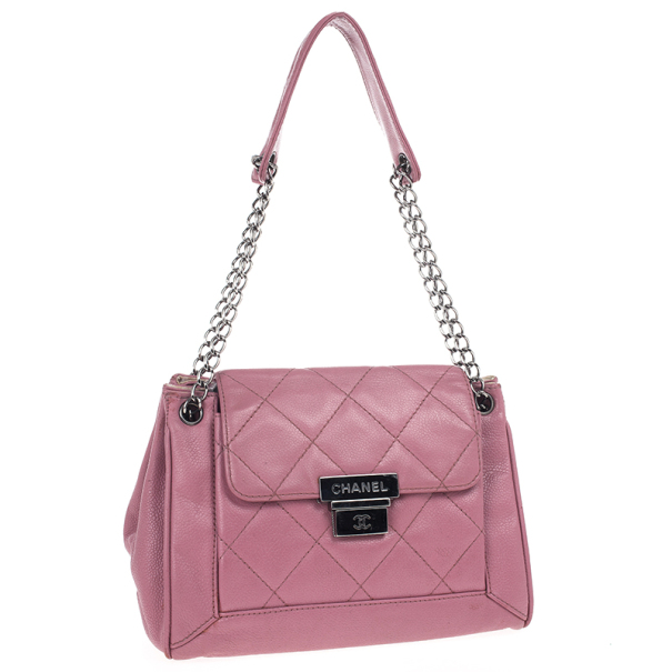 Chanel Rouge Rose Caviar Leather Accordion Flap Handbag