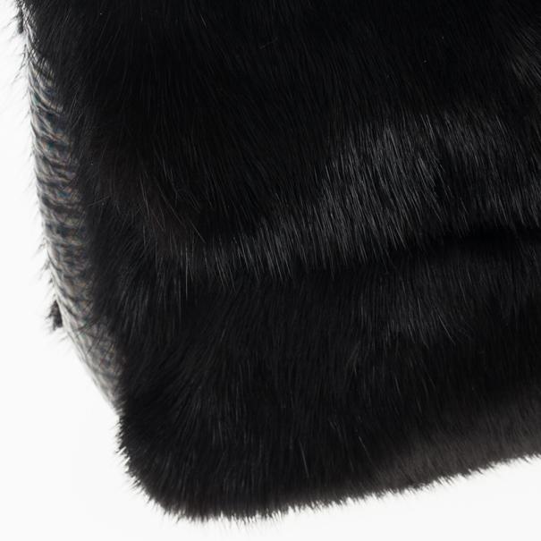 Fendi Black Mink Fur Baguette Bag