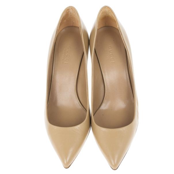Gucci Beige Leather 'Kristen' Bamboo Heel Pumps Size 36