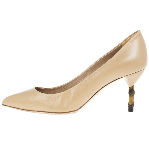 Gucci Beige Leather 'Kristen' Bamboo Heel Pumps Size 36