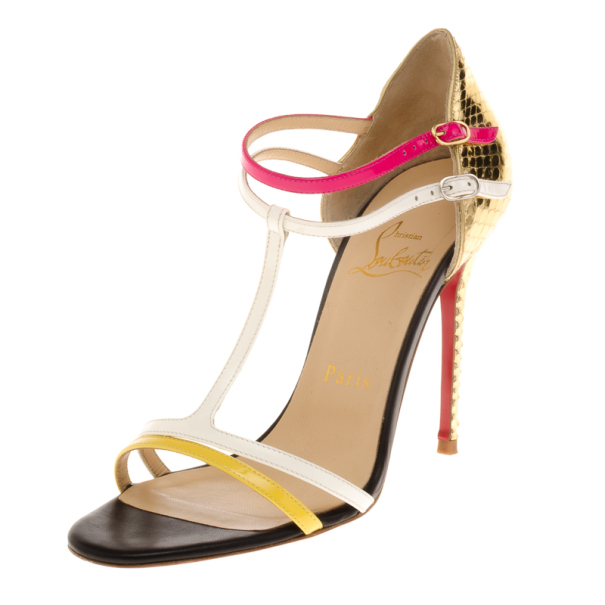 Christian Louboutin Arnold T Strap 100mm Python Sandals Size 36.5