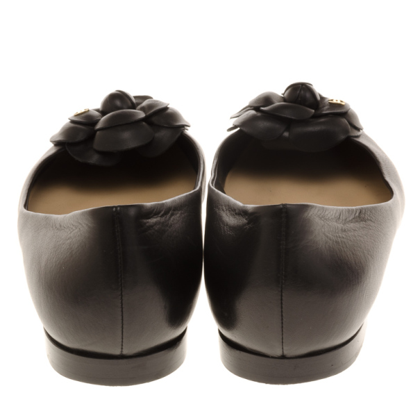 Chanel Black Leather Camelia Flower Ballet Flats Size 39