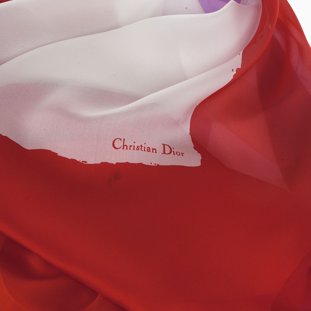 Christian Dior Multicolor Silk Square Scarf