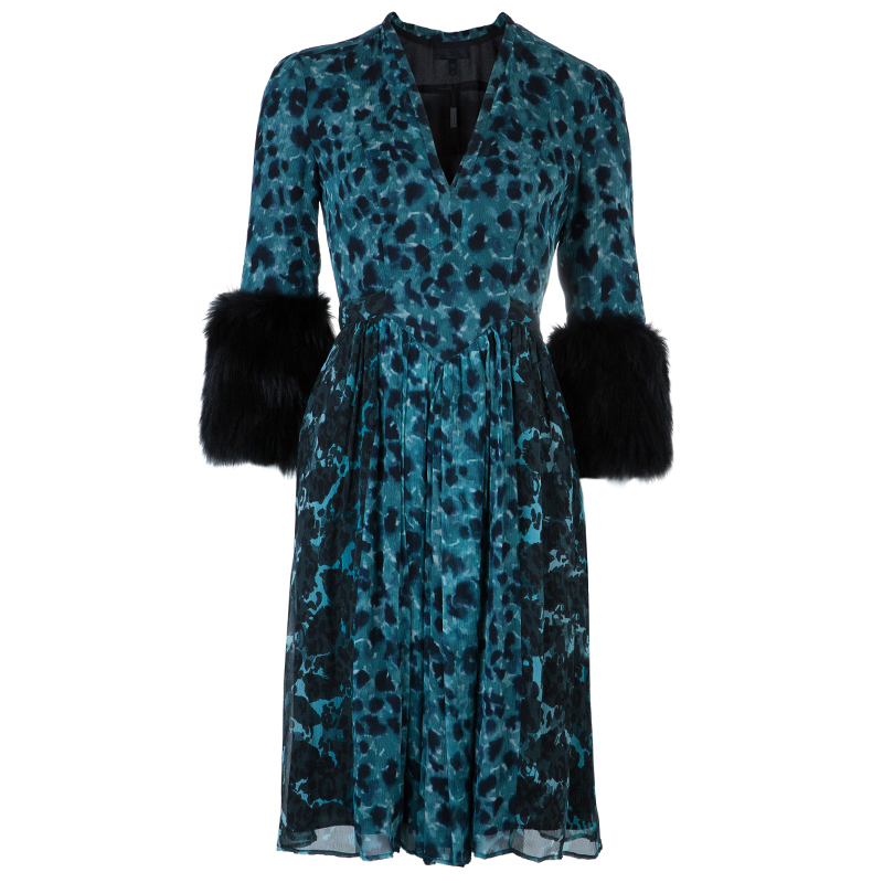Burberry Prorsum Teal Printed Fur Trimmed Dress M