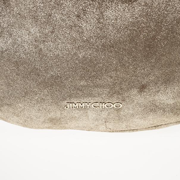 Jimmy Choo Silver Metallic Leather Sky Bangle Hobo