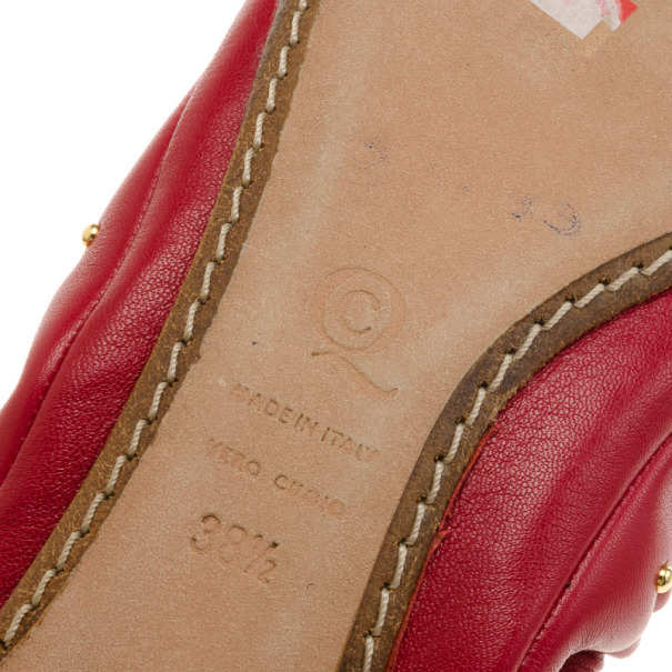 Alexander McQueen Red Leather Studded Ballet Flats Size 38.5