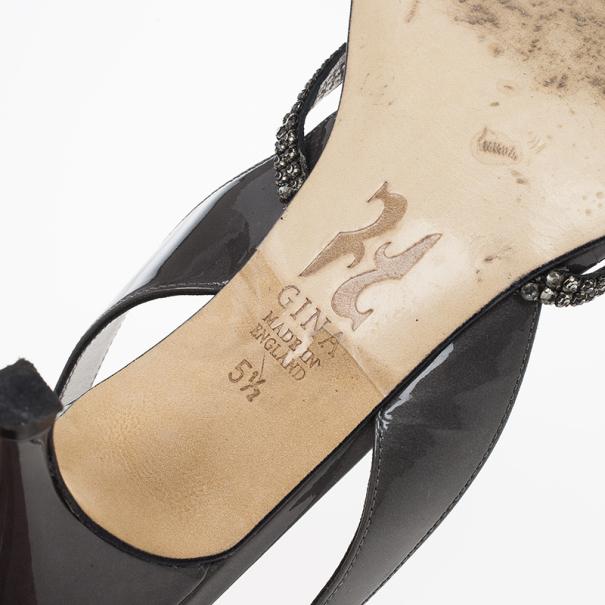 Gina Black Crystal Slingback Sandals Size 38.5
