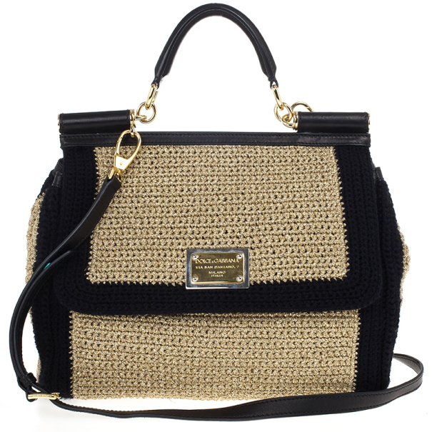 Dolce and Gabbana Beige Woven Raffia Miss Sicily Top Handle