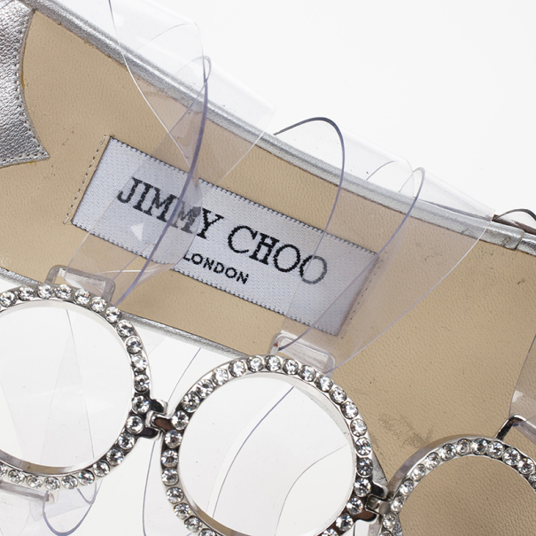 Jimmy Choo Embellished PVC and Leather Jela Sandals Size 38.5