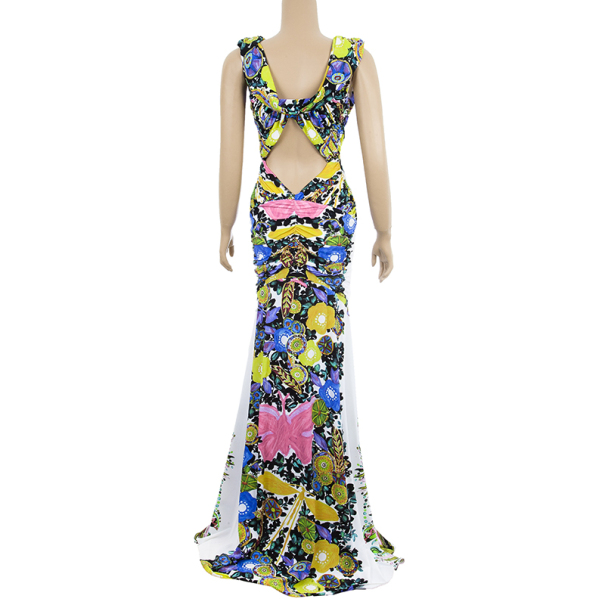 Roberto Cavalli Floral Gathered Stretch Dress M