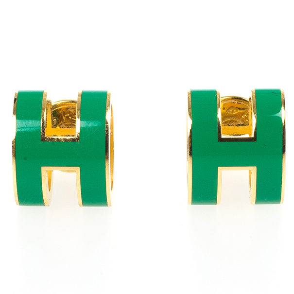 Hermes Pop H Green Lacquer Earrings