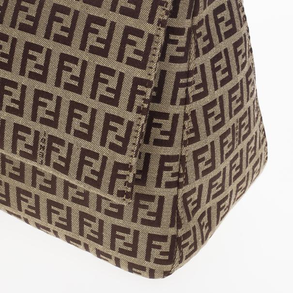 Fendi Brown Zucca Big Mamma Flap Bag
