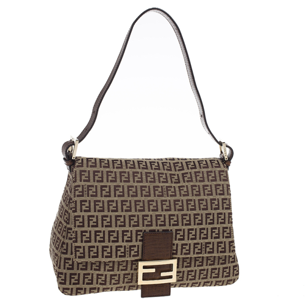 Fendi Brown Zucca Big Mamma Flap Bag