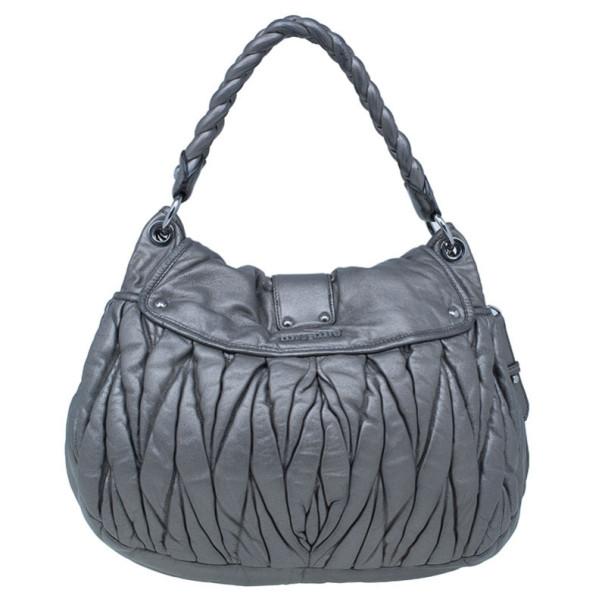 Miu Miu Silver Matelasse Leather Coffer Hobo