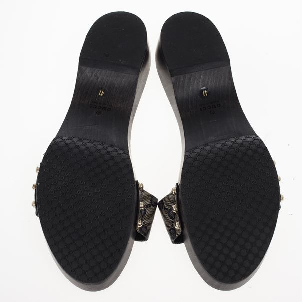 Gucci Navy Guccissima Crystal Hysteria Clogs Size 41