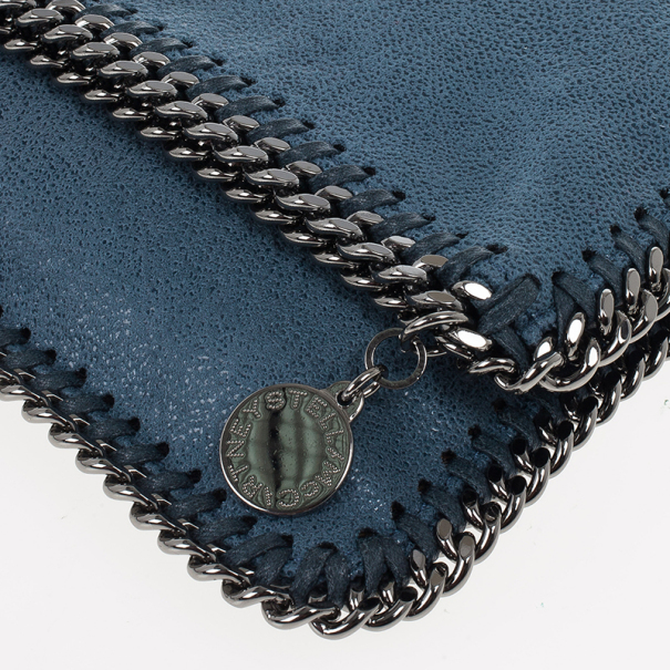 Stella McCartney Blue Falabella Shaggy Deer Foldover Clutch