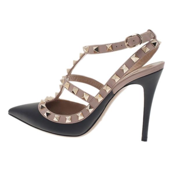 Valentino Black and Beige Leather Rockstud Sandals Size 36