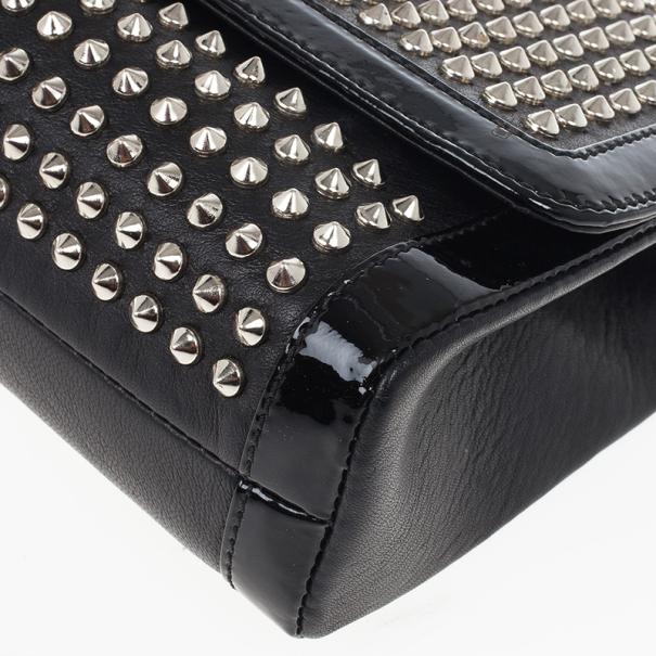 Christian Louboutin Black Sweet Charity Studded Leather Shoulder Bag