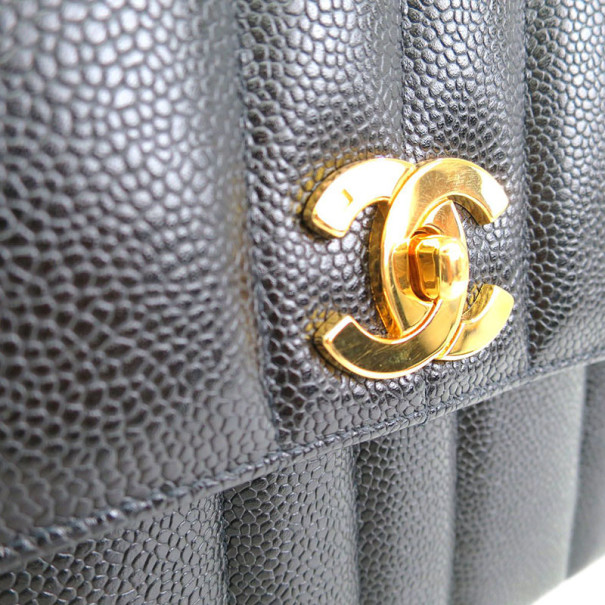Chanel Black Caviar Vertical Quilt Mademoiselle Flap Bag