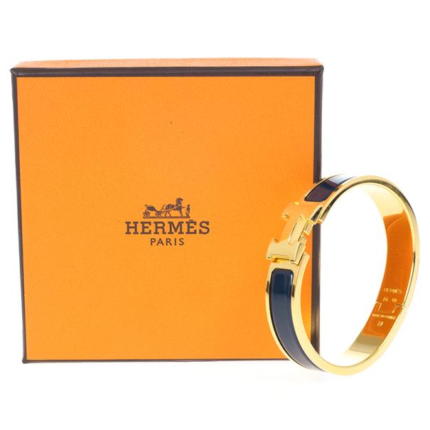 Hermes Clic Clac H Bleu Nuit Enamel Gold Plated Bracelet