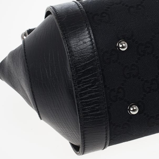 Gucci Black Canvas Bamboo Bullet Bag
