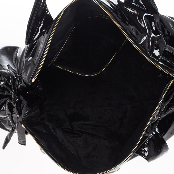 Gucci Black Patent Crystal Hysteria Medium Hobo