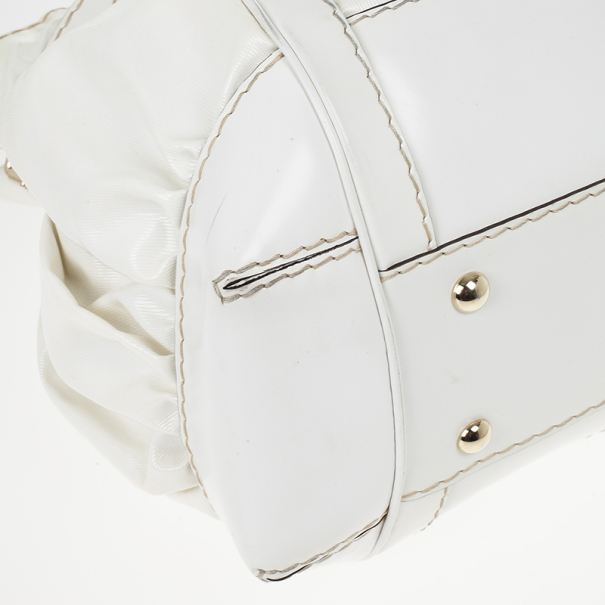 Gucci White Coated Twill Leather Queen Medium Satchel
