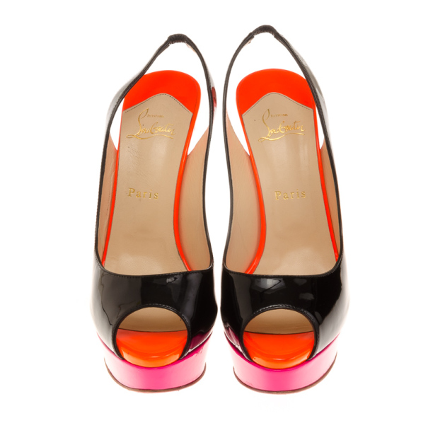 Christian Louboutin Tricolored Patent Lady Peep Slingback Sandals Size 40